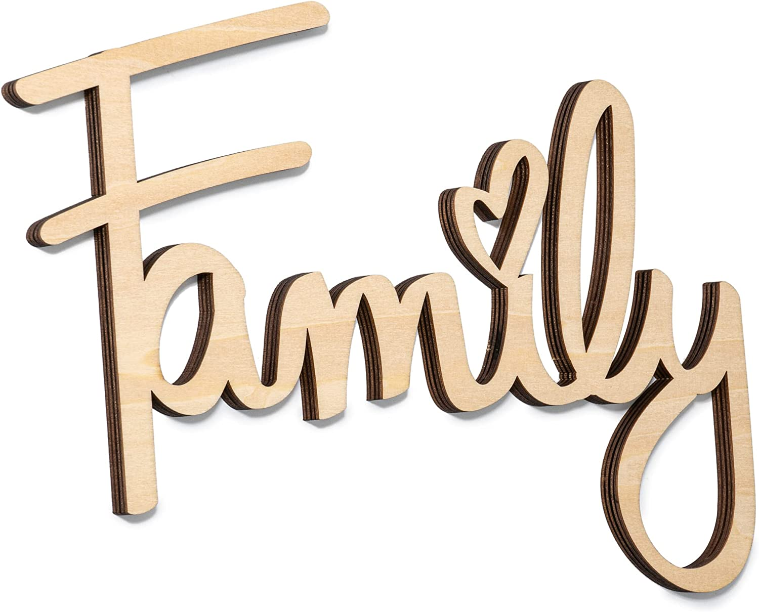 Way Of Hearts Wooden Family Sign for Wall Decor - Rustic Family Wall Decor - Farmhouse Wall Decorations for Living Room, Great Gift for Room Decor - DIY Unfinished Natural Plywood Cut Out 9.45