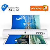 "13"" Thermal Laminator A3 A4 A6 Laminator Machine with 2 Roller System and Jam-Release Switch, Fast Warm-up, Quick Laminating Speed (White A3 Laminator)"