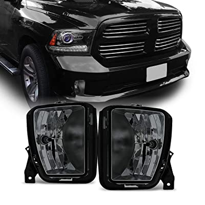 For 2013-2020 Dodge RAM 1500 Smoked Fog Driving Light with Bulbs Assemblies Pair Set: Automotive