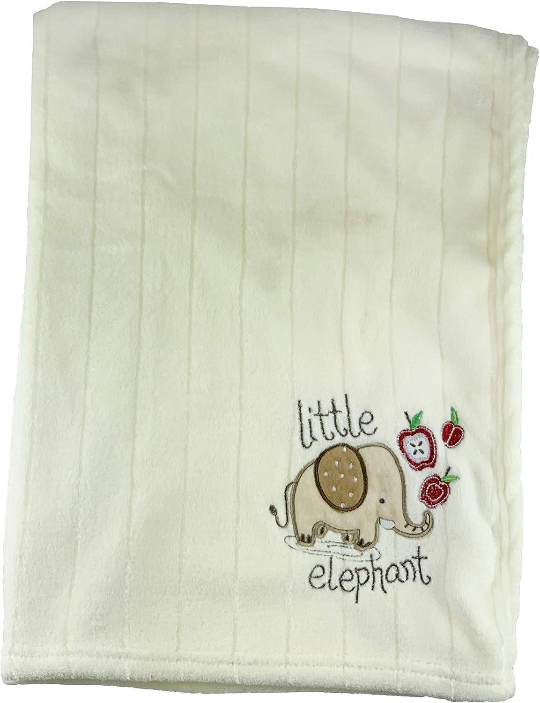 Manta para bebé con diseño de coches azules, suave, bordada, tela de algodón de calidad superior, cálida, supersuave, cómoda, 75 x 100 cm beige Cream Elephant Talla:Baby