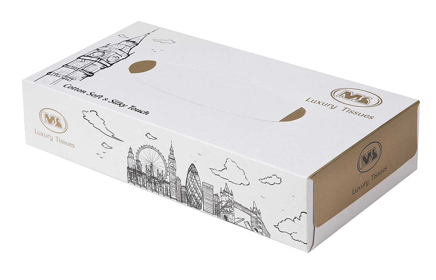 White//Gold//London- 100 Sheets by MS International Investment Ltd 1200 Sheets 2-Ply Facial Tissues in Bulk Pack of 12