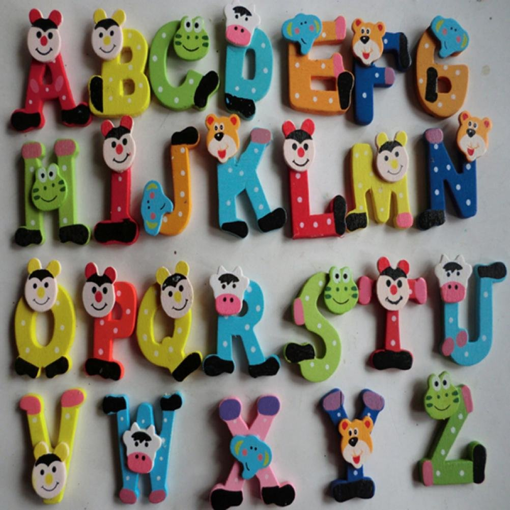 XUANOU 250sets 26pcs Wooden Colorful Cartoon Alphabet A-Z Magnets under 6 Years Old Children Educational Toy