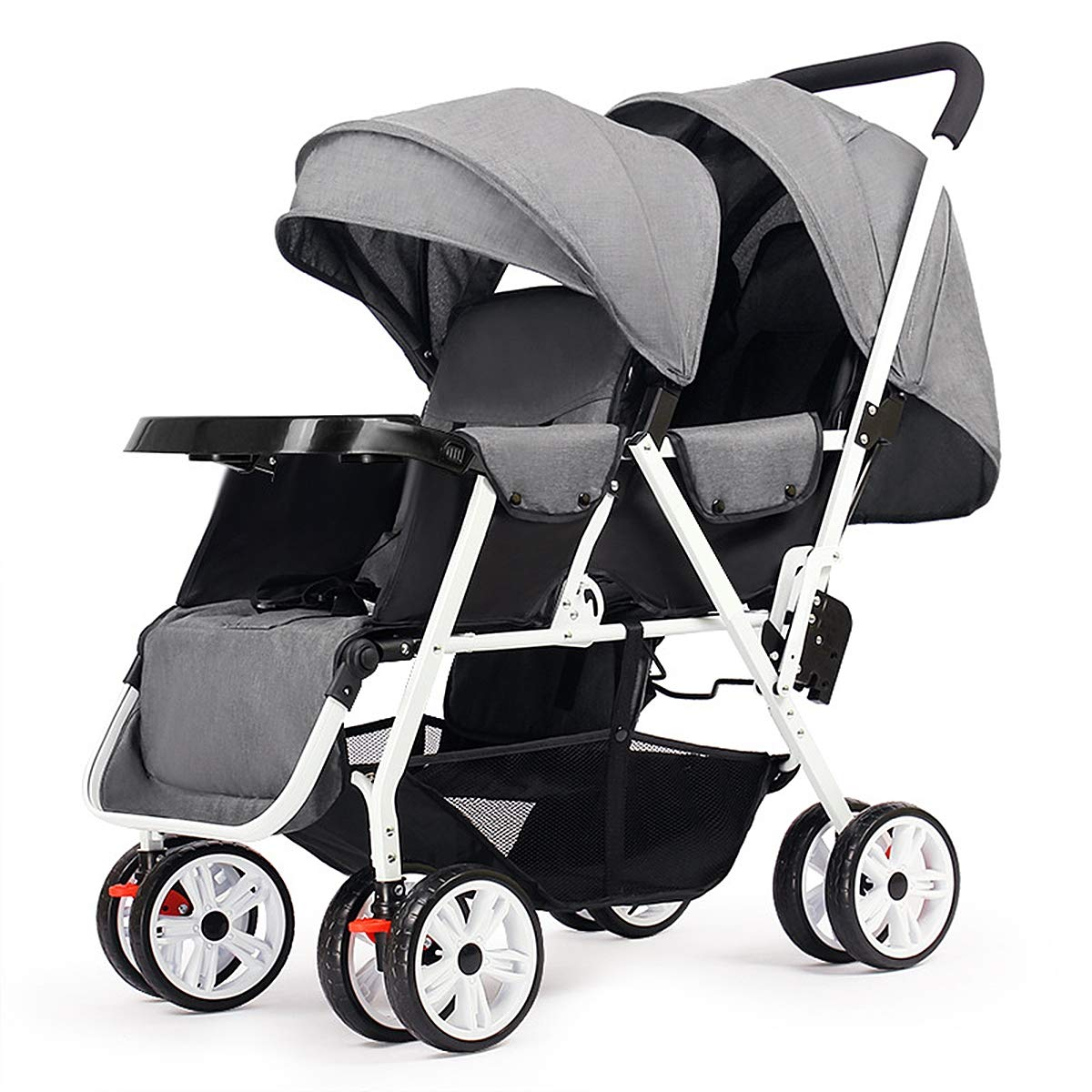 Eustoma Foldable Twin Stroller, One-Hand Folding Double Baby Stroller with Multi-Functional Awning, Five-Point Seat Belt and Dinner Plate,Gray