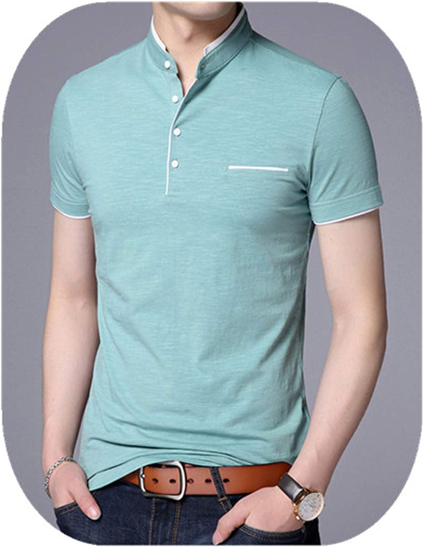 SportsX Men Pure Colour Embroidery Mandarin Collar Short Sleeve Wid Polo