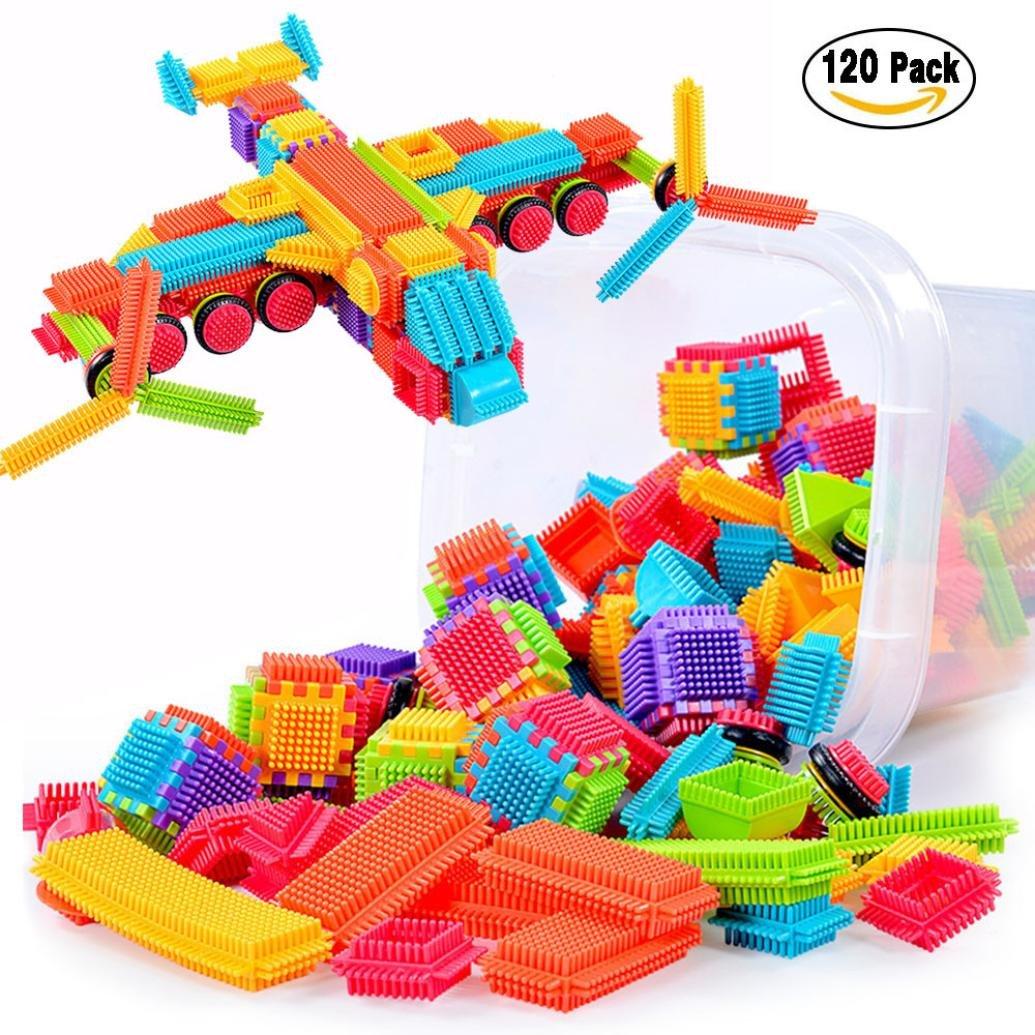 幼児用キッズボーイズガールズ120pcs Bristle形状3d建物ブロックタイルConstruction Playboards Toys B076KC2LW8  120 PCS