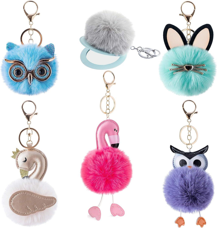 6Pcs Pom Pom Keychain Bulk w Travel Makeup Mirror Cute Fluffy Faux Fur Balls for Women Girls Bag Purse Charm Car Key Rings