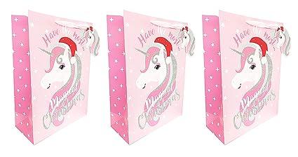 Bolsas de regalo de Navidad con diseño de unicornio rosa y ...