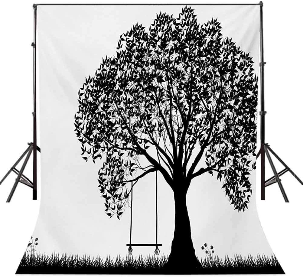 Tree 10x15 FT Backdrop Photographers,A Tree Silhouette with a Swing Illustration Flowers and Grass Monochrome Pattern Background for Party Home Decor Outdoorsy Theme Vinyl Shoot Props Black and White