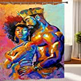 Wencal Lovers Couple King Queen African American Shower Curtain for Bathroom with Hooks Waterproof 72 x 72 Inches