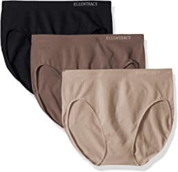 ELLEN TRACY Womens Hi Cut Seamless Logo Panties, ...