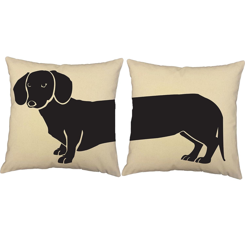amazoncom set of  roomcraft dachshund throw pillows x inch  - amazoncom set of  roomcraft dachshund throw pillows x inch squarewhite cotton canvas dog silhouette cushions home  kitchen