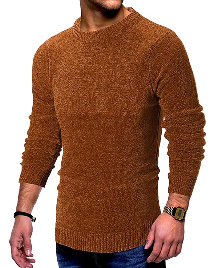 Jofemuho Mens Round Neck Jumper Plain Fashion Long Sleeve Pullover Sweater