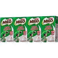 MILO UHT Less Sugar Chocolate Malted Milk 125ml, (Pack of 4)