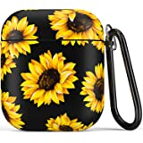 Airpod Case,Flexible Silicone Cover Cases for Airpods 1st/2nd with Cute Sunflowers Floral Design for Girls Women…