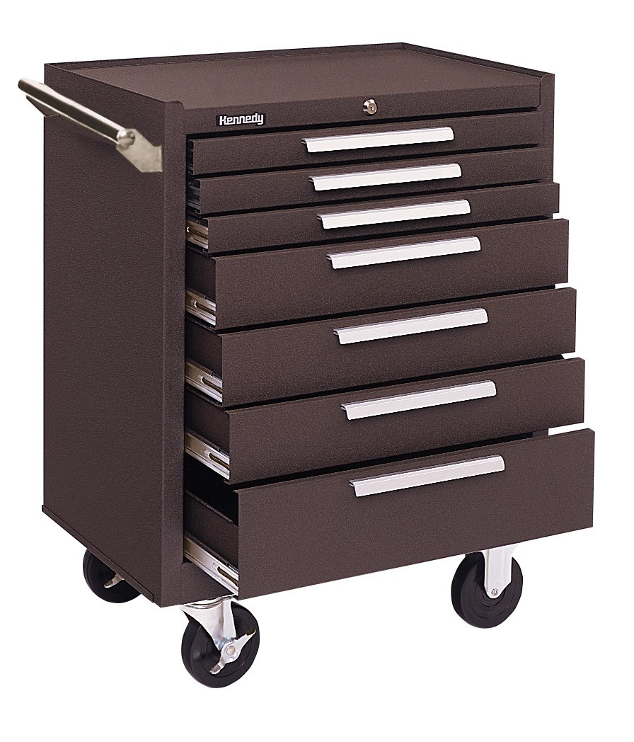 Kennedy Manufacturing 277Xbk 27'' 7-Drawer Industrial Tool Storage Roller Cabinet With Chest And Wheels, Industrial Black