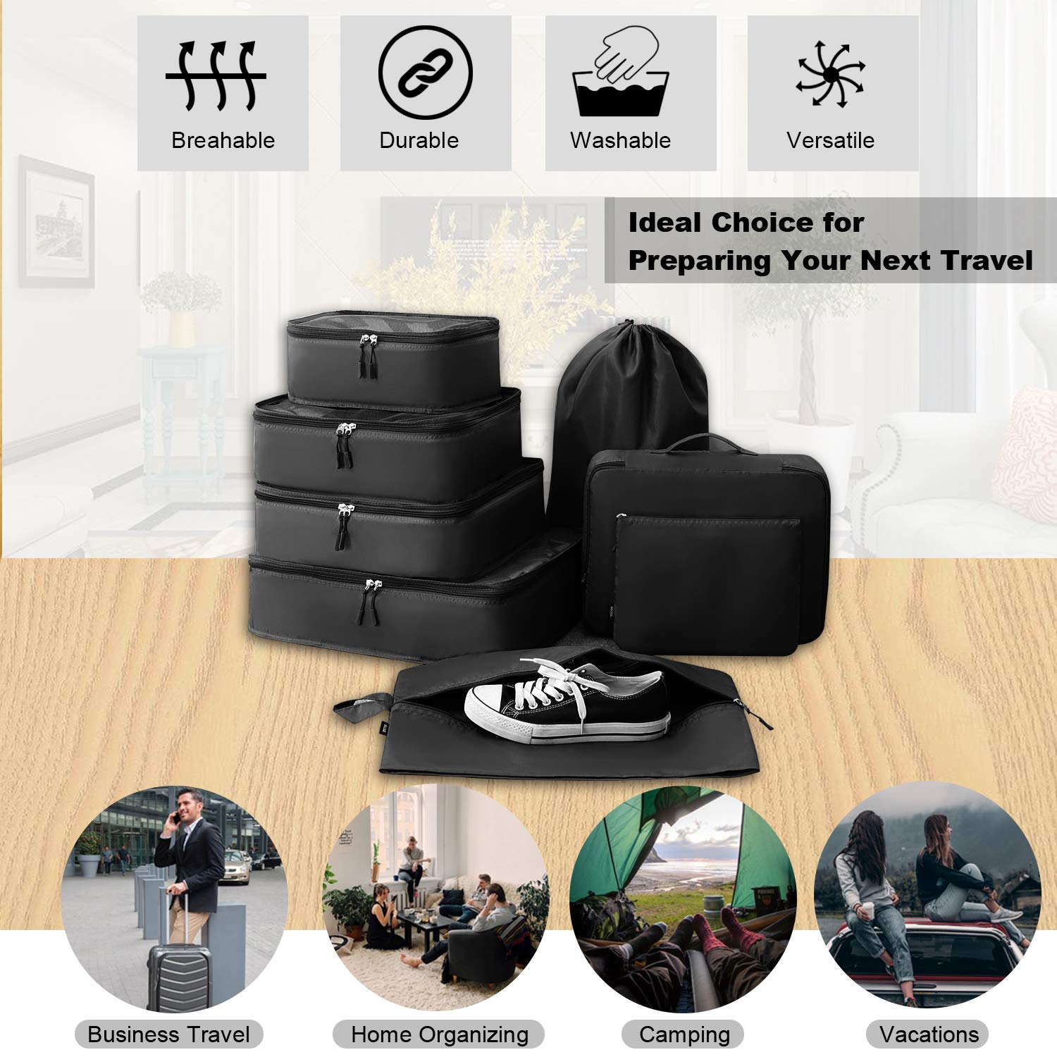 BAGAIL 8 Set Packing Cubes Luggage Packing Organizers for Travel Accessories