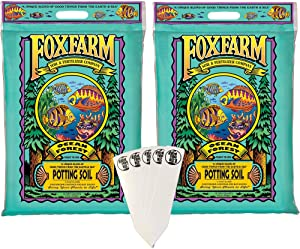 FoxFarm Ocean Forest Potting Soil Mix Indoor Outdoor for Garden and Plants | Plant Fertilizer | 12 Quarts | 2 Pack + THCity Stakes