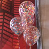 FindFun 12'' Rainbow Bright Confetti Balloons for Party Decoration (Pack Of 12)