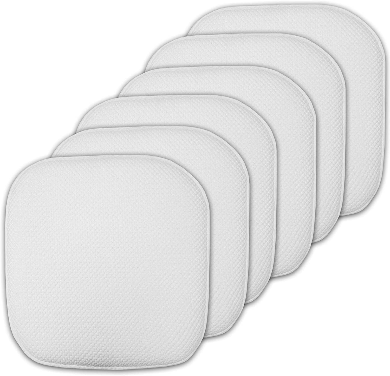 """Sweet Home Collection Cushion Memory Foam Chair Pads Honeycomb Nonslip Back Seat Cover 16"""" x 16"""" 6 Pack White"""