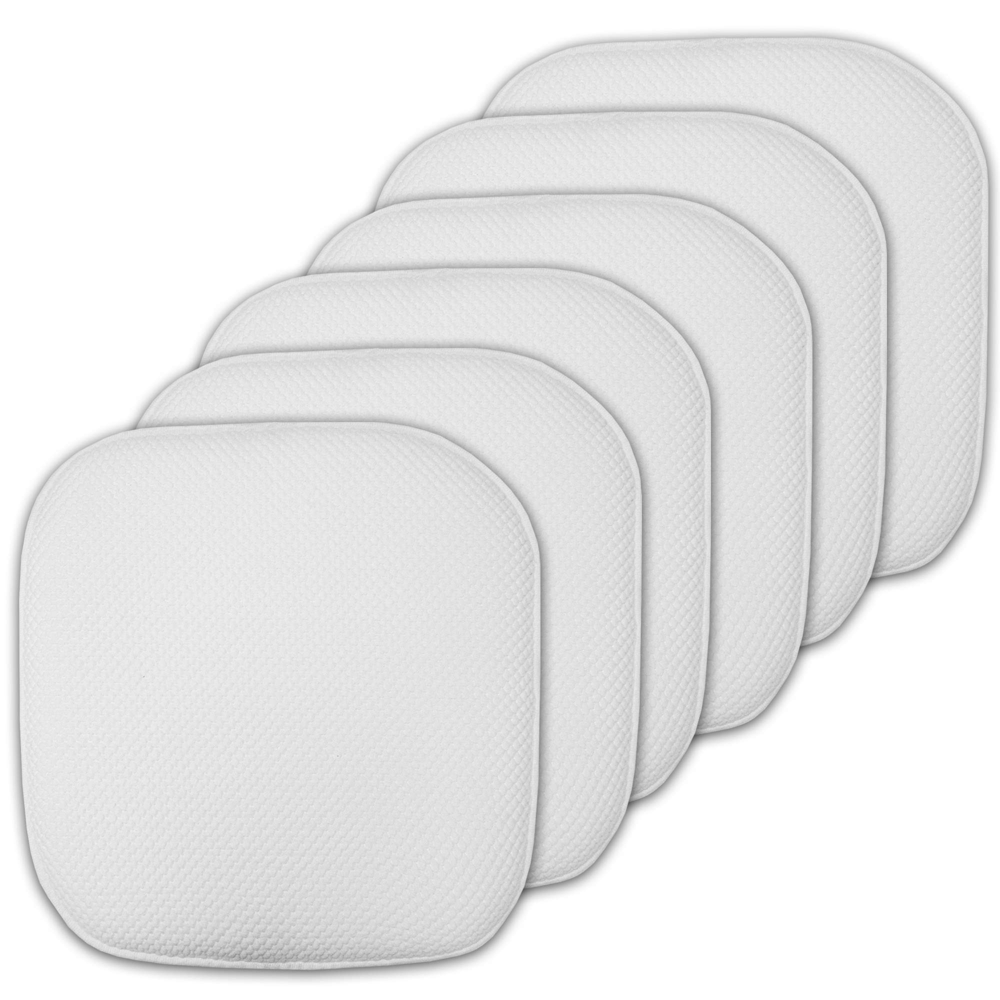 """Sweet Home Collection Cushion Memory Foam Chair Pads Honeycomb Nonslip Back Seat Cover 16"""" x 16"""" 6 Pack White product image"""