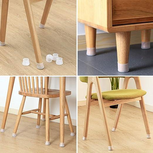 /Éviter les rayures et le bruit Pour table et chaise blanc Pour meubles Pour pieds de chaise Lot de 32 pieds ronds en silicone pour meubles