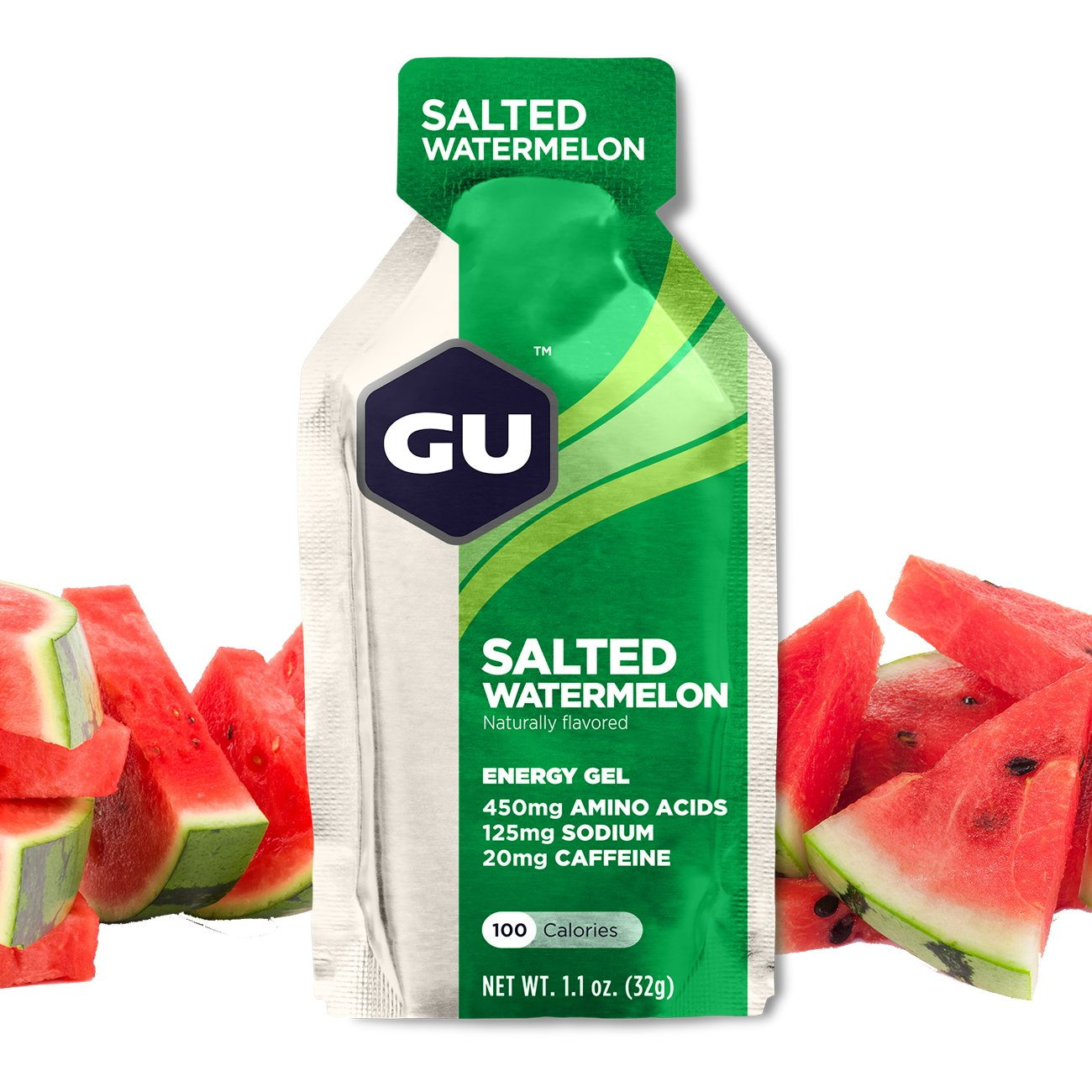 GU Energy Original Sports Nutrition Energy Gel, Salted Watermelon, 8-Count