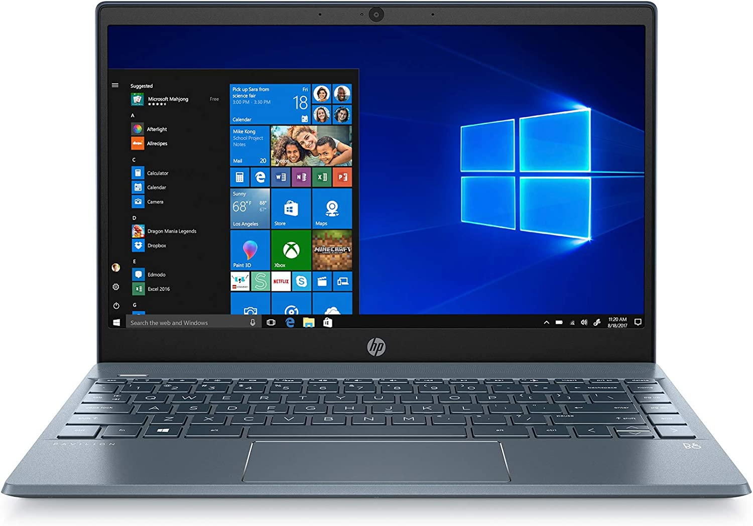 HP Pavilion 13-inch Light and Thin Laptop Intel Core i3-8145U Processor, 4 GB RAM, 128GB SSD, WiFi, Bluetooth, HDMI, Fingerprint Reader, Backlit Keyboard, Wins 10 S (Renewed)