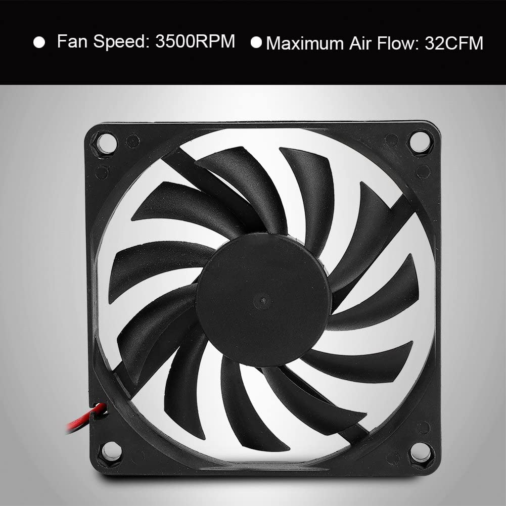 2pcs 8cm 12V CPU Cooling Fan CPU Fans Heat Sink Silent Mute Cooler for Computer PC ASHATA PC Cooling Fan Black