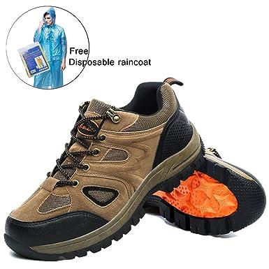 Men Women Hiking Shoes Skidproof Walking Sneaker for Running Trekking Training with Free Raincoat