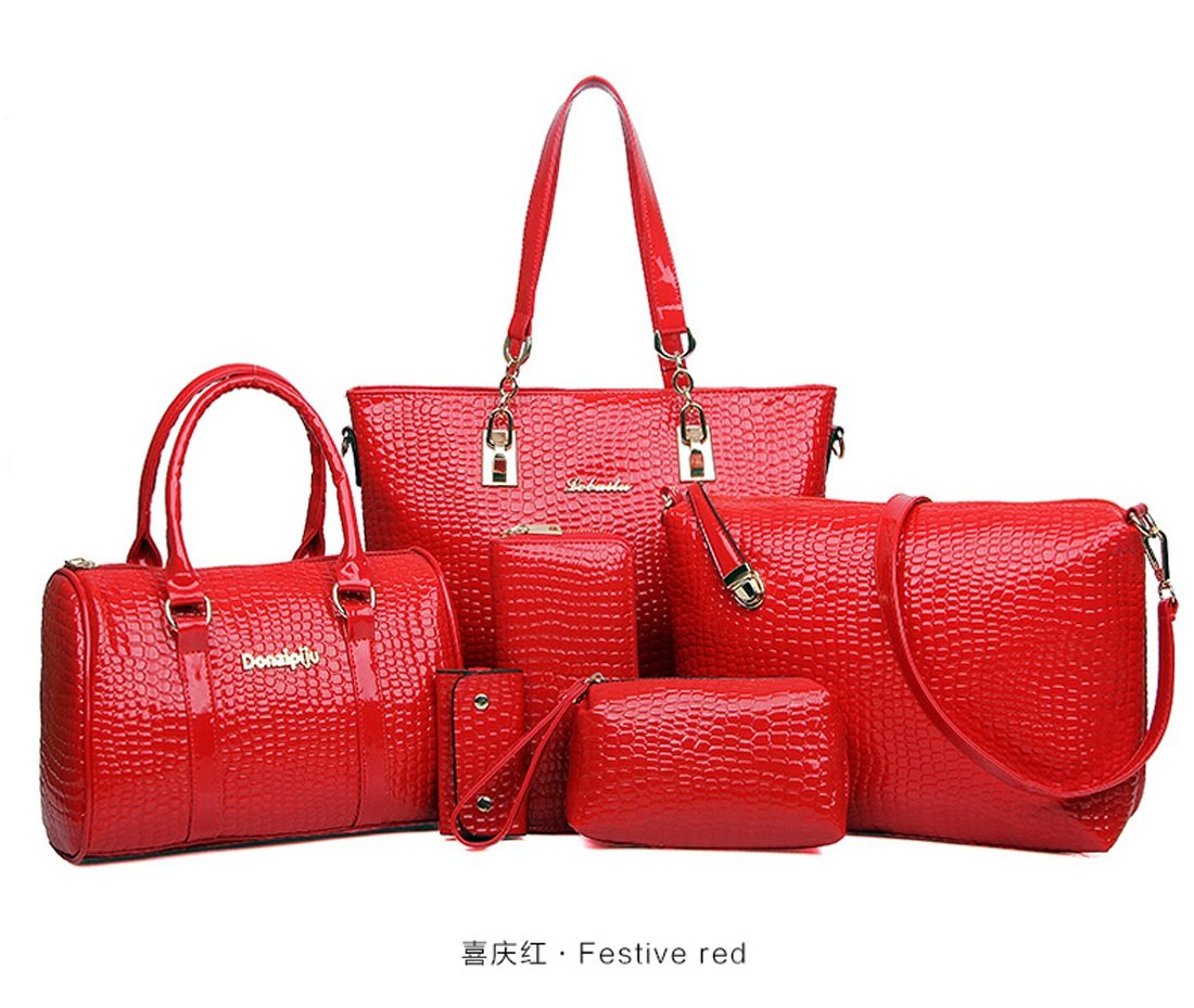 WTING Women's Bags Patent Leather Tote Bag Set Shoulder Bag for Shopping Casual Office & Career All Seasons Beige Yellow Rose Red Red Blue (Color : Red)