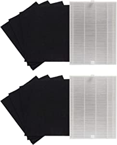 PUREBURG Complete Replacement Filter Set - 2 x HEPA Filter & 8 x Carbon Pre-Filters Compatible with Coway AP-1216L Tower Mighty Air Purifiers Replaces Part AP-1216-FP