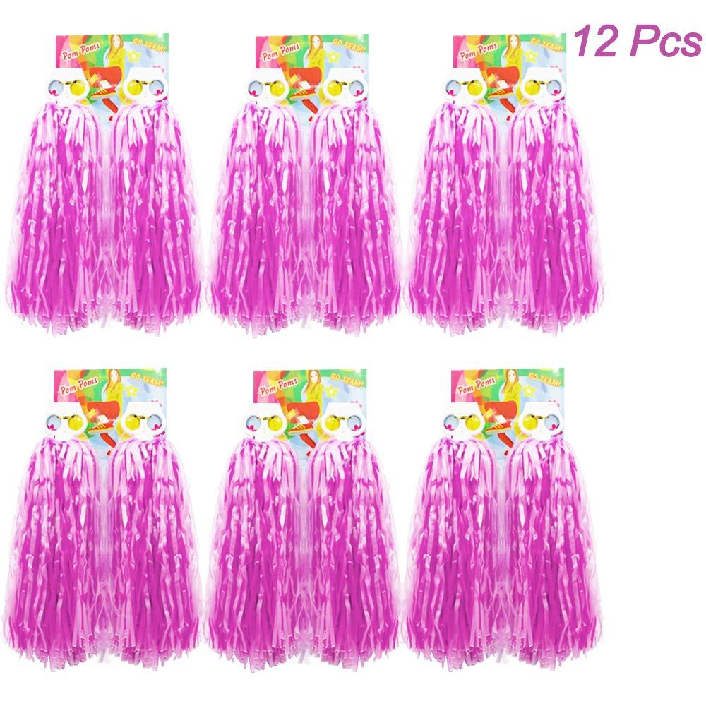 Creatiees 12 Piezas de Pompones de Animadora Pomp/ón de Pl/ástico de Animadora para Equipo de Deporte Animador de Esp/íritu Bola Danza Lujoso Vestido Noche Partido Azul