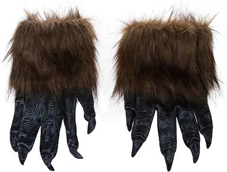 SODIAL(R) 1 par Guantes de Lobo Mascara de Halloween Juego de mascaras de Animales Hombre-Lobo Mascarada Lobo (Tamano: L, Color: Negro): Amazon.es: Juguetes y juegos