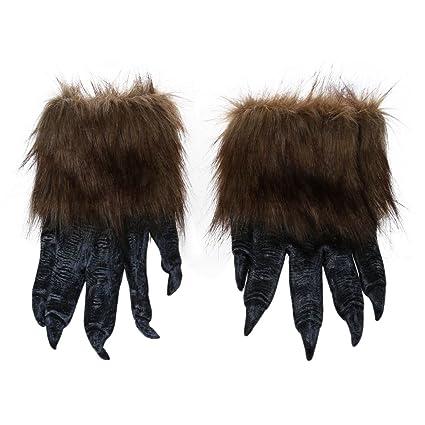 SODIAL(R) 1 par Guantes de lobo Mascara de Halloween juego de mascaras de
