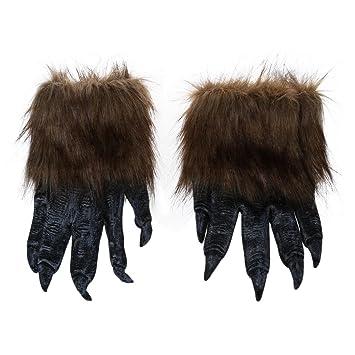 SODIAL(R) 1 par Guantes de lobo Mascara de Halloween juego de mascaras de animales hombre-lobo mascarada lobo (Tamano: L, Color: Negro): Amazon.es: Juguetes ...