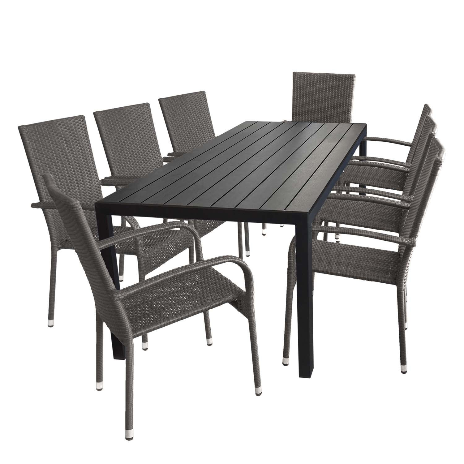 9tlg terrassenm bel set gartentisch aluminium polywood 205x90cm schwarz 8x stapelbarer. Black Bedroom Furniture Sets. Home Design Ideas