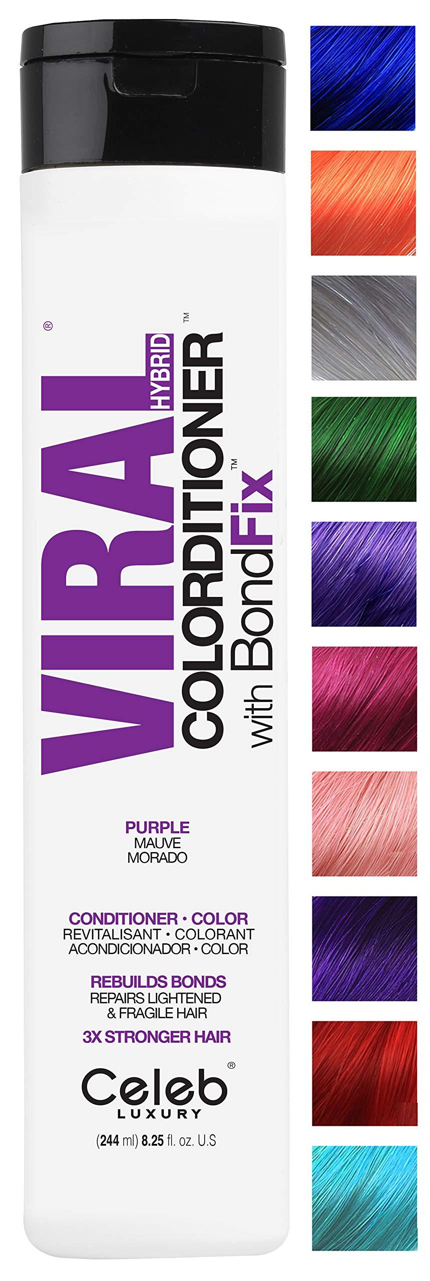 Celeb Luxury Viral Colorditioner: Purple Color Depositing Conditioner, BondFix Bond Rebuilder, 10 Vivid and Pastel Colors, Stops Fade, Conditioner + Vivid Color, Cruelty-Free, 100% Vegan