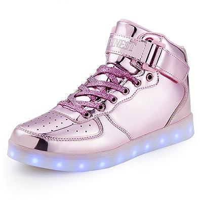 f74f0007ca0ff AFFINEST Unisexe Chaussures Enfant High Top LED Chaussures Clignotant  Chaussures de Sport pour Les Enfants(