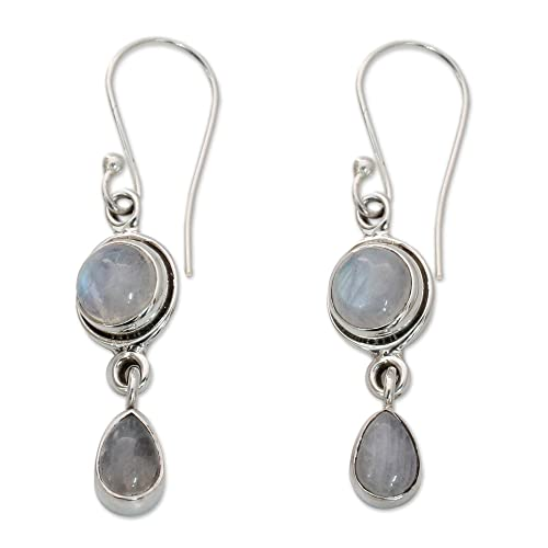 NOVICA Moonstone .925 Sterling Silver Dangle Earrings Shimmer