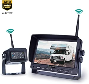 Digital Wireless Backup Camera Kit, 7 Inch Display and 720P HD Resolution, Wide Angle Rear View Camera with Night Vision, 190ft Wireless Reverse Camera System Suitable for Truck, Motorhome, 5th Wheel