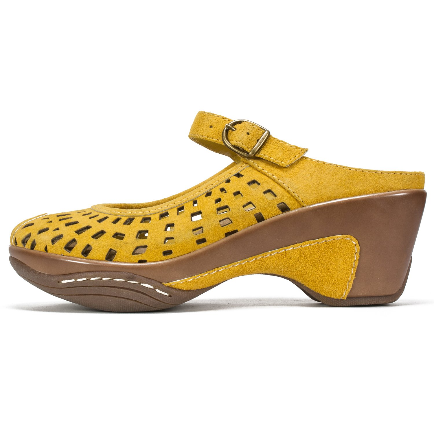 WHITE MOUNTAIN Shoes MARVY Womens Mule 8 M W12297-711-8 Mustard//Suede