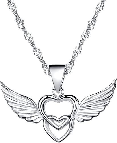 NEW Silver plated open heart and fairy pendant necklace valentines love