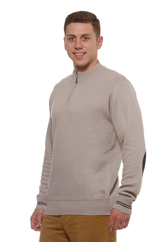 ECKO UNLTD Mens Marled Quarter Zip long sleeve Elbow Patch sweater