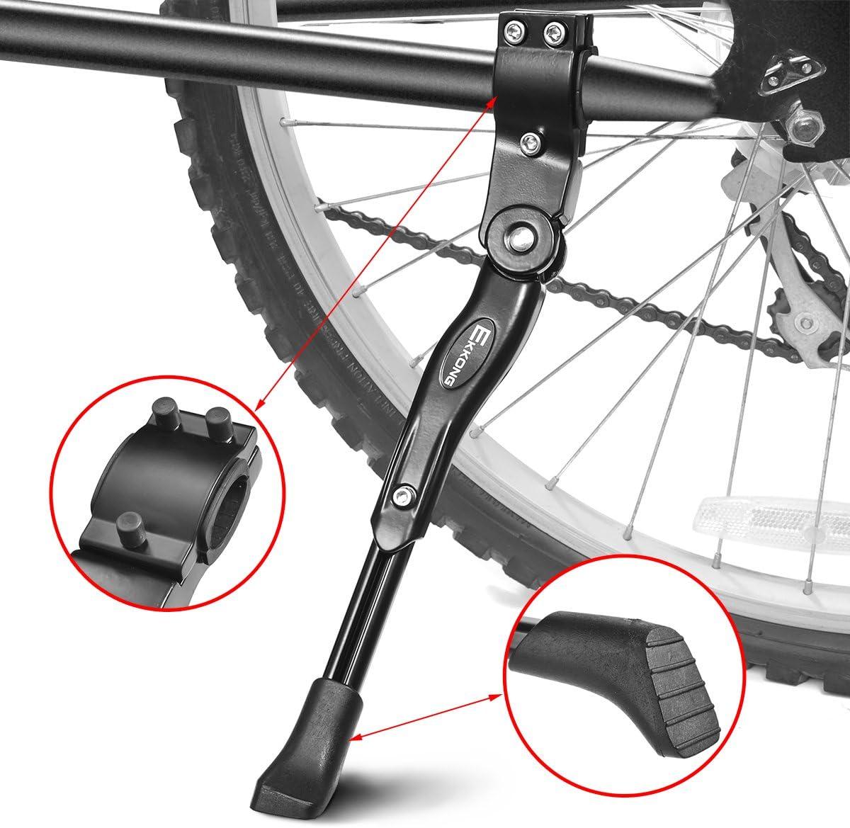EKKONG Pata de Cabra Bicicletas, Aluminio Aleación Ajustable Bici Pata de Cabra Bicicleta Caballete Lateral con pie de Goma Antideslizante para Bicicletas 24