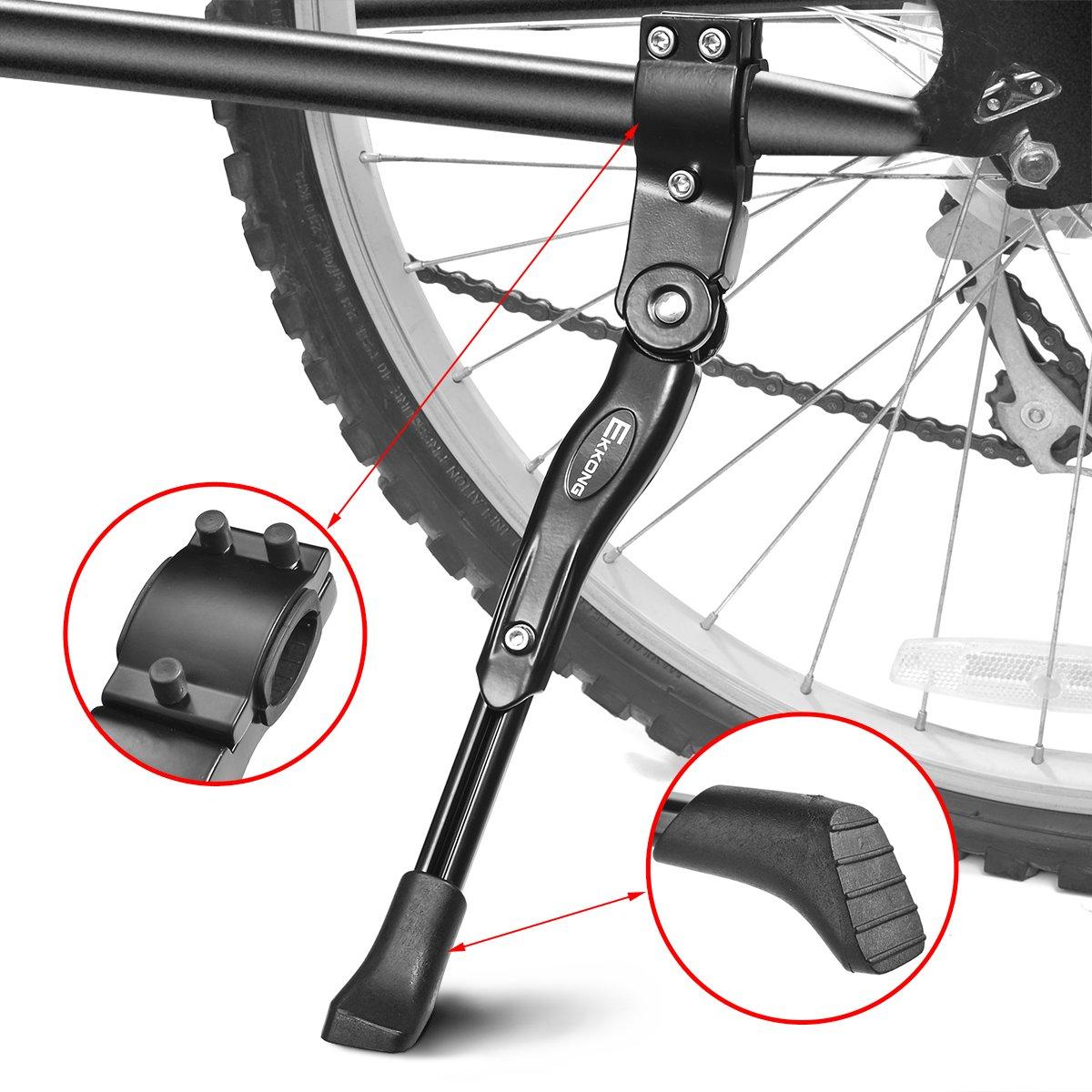 EKKONG Pata de Cabra de Bicicletas, Aluminio Aleación Ajustable Bicicleta Kickstands Bicicleta Caballete Lateral con