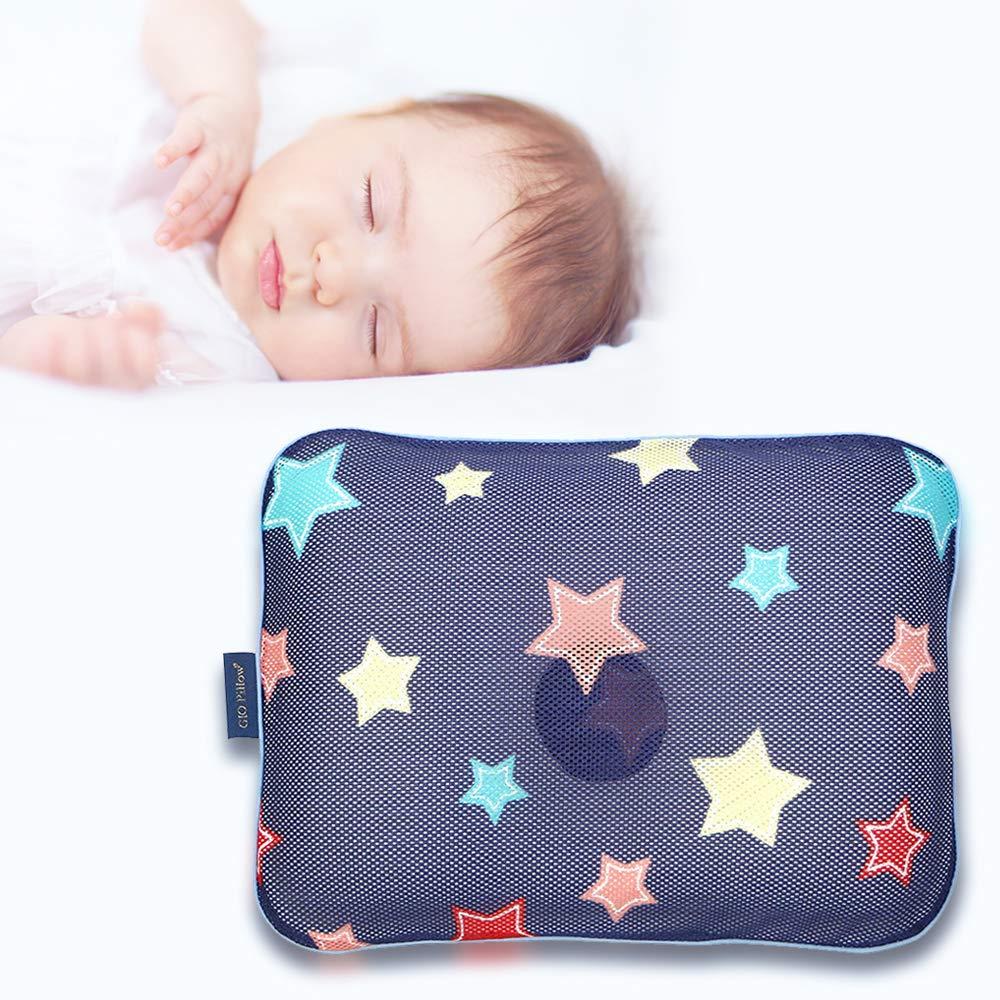 Gio Pillow 3D Air Mesh Baby Pillow, Head Shaping Pillow, Flat Head Syndrome Prevention [Navy Star/Medium]