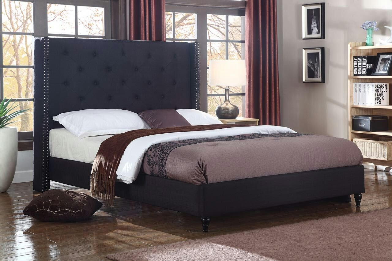 Home Life Premiere Classics Cloth Black Linen 51'' Tall Headboard Platform Bed with Slats King - Complete Bed 5 Year Warranty Included 007