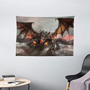 "Ambesonne Fantasy World Tapestry, Illustration of 3 Headed Fire Breathing Dragon Large Monster Gothic Theme, Wide Wall Hanging for Bedroom Living Room Dorm, 60"" X 40"", Brown Grey"