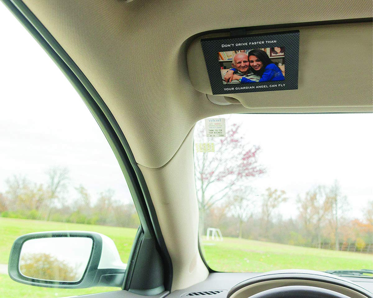 "GA Carbon Fiber Clips to Car Sun Visor Fits Standard Wallet Size Photo | Rotating Clip Allows for Landscape or Portrait Position 2.5/"" x 3.5/"" Protects Pictures from Sun Damage VISOR FRAMES"
