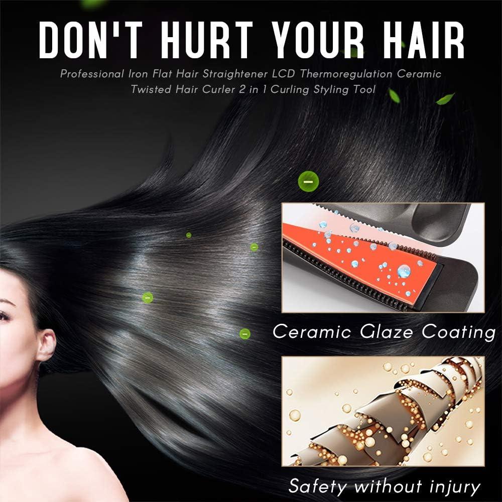 Galapara Curl & Straight Plancha de Pelo Profesional, Alisador y Rizador 2 en 1,termorregulación LED, Multifunción Planchas para el Pelo para Todo Tipo de Cabello, Cerámica,Resultados Profesionales: Amazon.es: Hogar